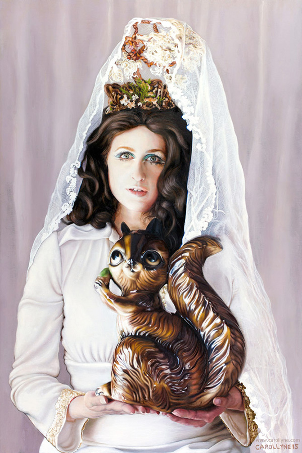 Madonna and Bank Squirrel, 24 x 36, oil on wood panel, 2015