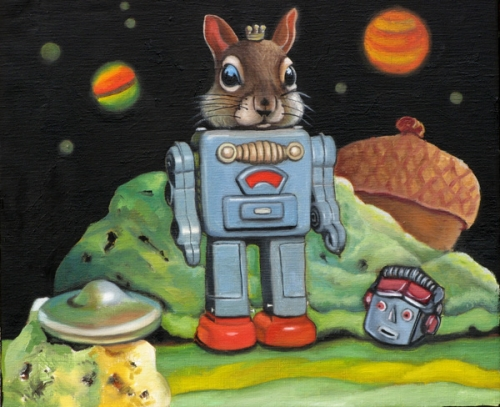 "Robot Squirrel 12"" x 10"" Oil on canvas 2011 SOLD Private Collection"