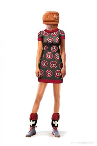 "Raven Remix (Concept Dress Design) Digital Composite (Designed in Photoshop CS2), Inkjet print on cotton velvet paper Edition of three 36"" x 24"" Available"