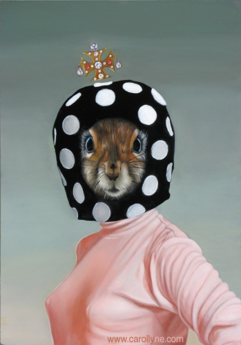 Mushroom Hat Squirrel (after Mary Quant) 14 X 20 Oil on board 2011 SOLD Private Collection