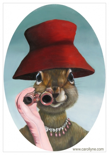 Red Hat Squirrel 14 X 20 Oil on board 2011 SOLD Private Collection