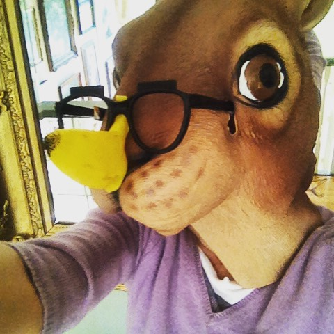 Squirrealism meets Bananology. Re-gifted banana glasses from Anna Banana exhibit at Open Space. Sept 2015. Selfie.