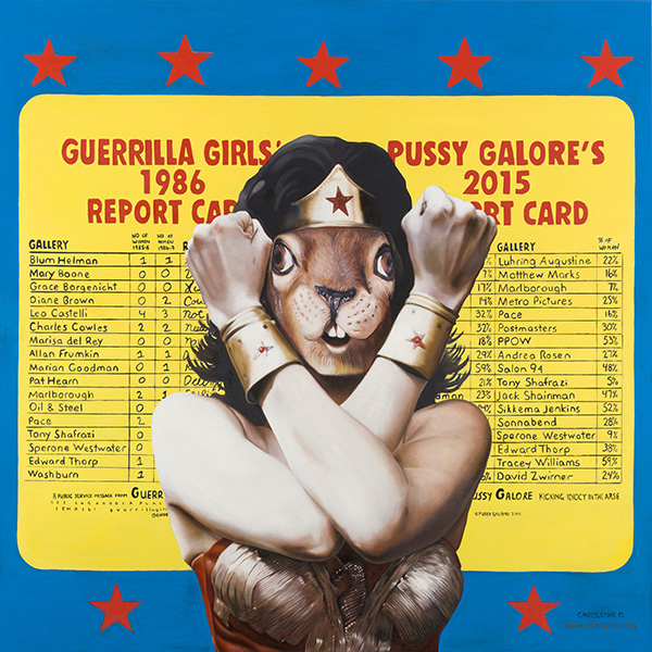 Guerrilla Squirrel, oil on wood panel, 40 x 40, 2015 (after Guerrilla Girls' and Pussy Galore)