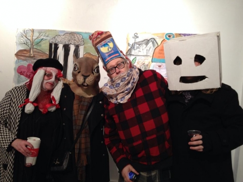 At Roy Greens exhibition, Mummers, Fifty Fifty Gallery