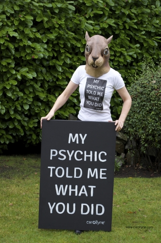 My Psychic Told Me, painting and t-shirt.