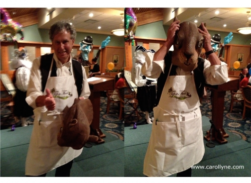 """Chris Causton, former Mayor of Oak Bay getting """"squirrel-bombed"""" Tip a Fool 2013, Greater Victoria Citizens Counseling Center"""