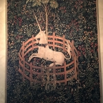 The Unicorn in Captivity, ca. 1495–1505 South Netherlandish Wool warp, wool, silk, silver, and gilt wefts; 12 ft. 1 in. x 8 ft. 3 in. (368 x 252 cm) The Metropolitan Museum of Art, New York Gift of John D. Rockefeller Jr., 1937 (37.80.5)