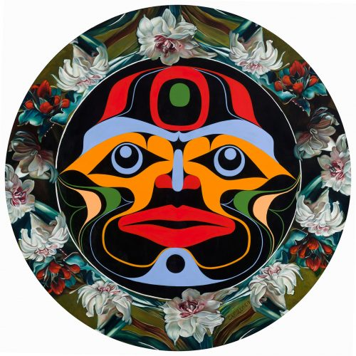 "Moon Mask, 36"" diameter, oil and acrylic on panel, 2017 by Carollyne Yardley and Rande Cook (collaboration)"