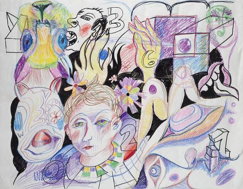 """Collaboration Dinner Drawing, 2017, Rande Cook, Carollyne Yardley, and Noah Becker, Crayon and pen on paper, 36"""" x 28"""""""