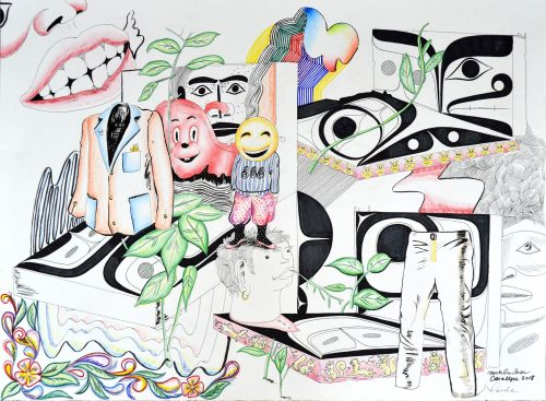 """Ate, Ate, Ate, 22"""" x 30"""" Pen and ink on paper by The Supper Club (Rande Cook, Carollyne Yardley, Noah Becker)"""