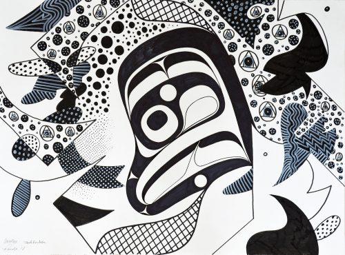 "Philosopher's Stone 22"" x 30"" Pen and ink on paper Rande Cook, Carollyne Yardley, Noah Becker 2018"