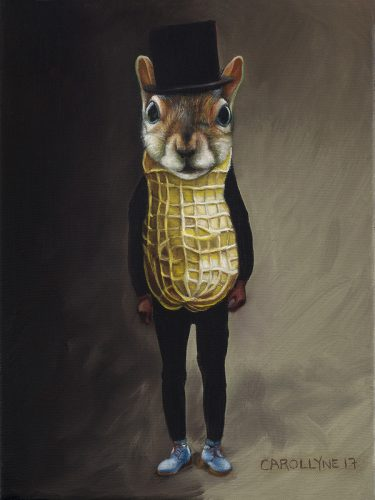 "Mr Peanut Squirrel aka Vincent Trasov, 9"" x 11"" oil on canvas, 2017. Exchange with Vincent Trasov"