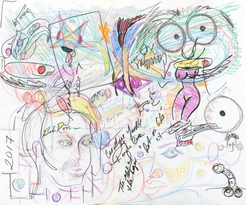 """Collaboration Planning Document, 2017, Rande Cook and Carollyne Yardley, Crayon on paper, 36"""" x 28"""""""