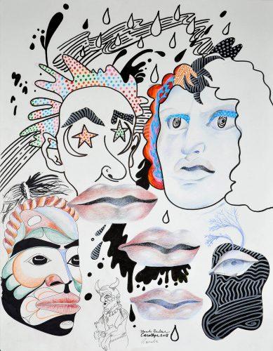 "Conductors, 22"" x 30"" Pen and ink on paper Rande Cook, Carollyne Yardley, Noah Becker 2018"