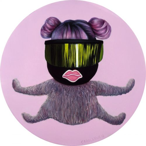 mtSQRL Bionic, oil on panel, 15″ diameter, 2018.