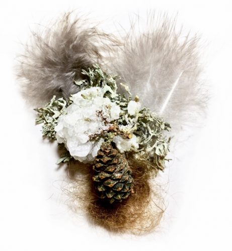 Peacock feathers, human hair, salt and borax crystals, cypress tree, lichens, cone. 2″ x 3″, 2019.