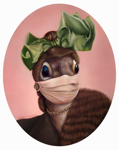 "Pandemic Squirrel series, 15"" x 19.5"", (22""x25"" with frame) oil on panel, 2020. SOLD. Private Collection."