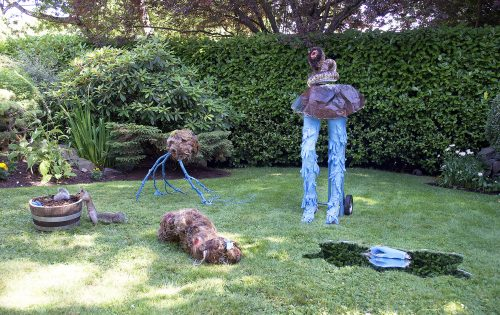 Pandemic Sculpture Garden with visiting Eastern grey squirrel, Installation View, 11' x 6′